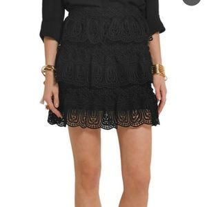 Tiered guipure lace mini skirt
